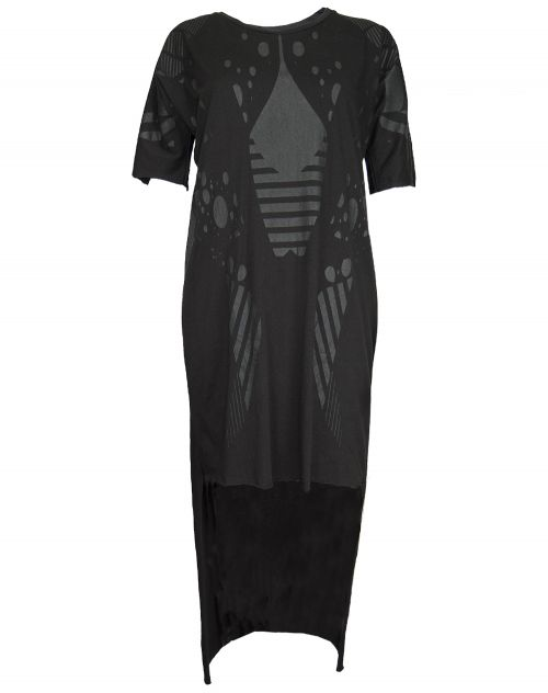 Barbara I Gongini Jersey Kleid Longsleeve PRINTED Dress black