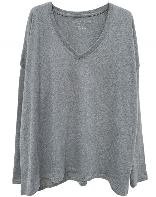 Majestic Filatures V-Neck Overzied Light Sweater mit Kaschmir gris chine