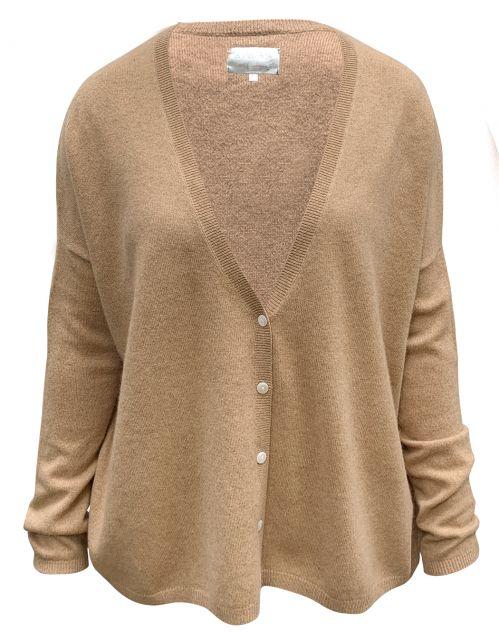 Les tricots de Lea Kaschmir Boxy Deep-V Cardigan Gemstone camel