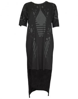 Barbara I Gongini Jersey Kleid Long Back Longsleeve PRINTED black