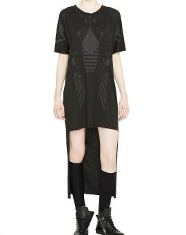 Barbara I Gongini Jersey Kleid Long Back Longsleeve PRINTED black