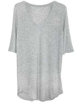 Majestic Filatures V-Neck Soft Ripp T-Shirt Viskose brume chine