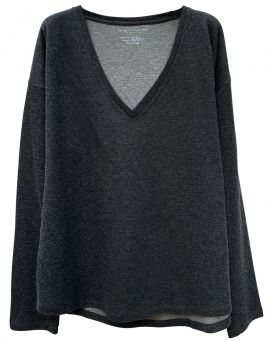 Majestic Filatures V-Sweater Double Kaschmir Baumwolle anthracite gris chiné