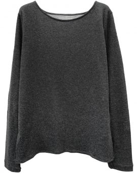 Majestic Filatures Bateau Sweater Double mit Kaschmir anthracite gris chiné