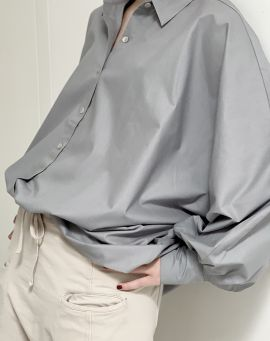 Hedda William Bat Wing Blouse Hedwig Bio Popelin grey
