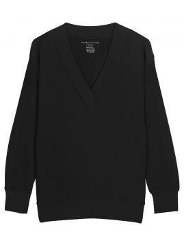 Majestic Filatures Deep V-Neck Oversized Light Sweater mit Kaschmir noir